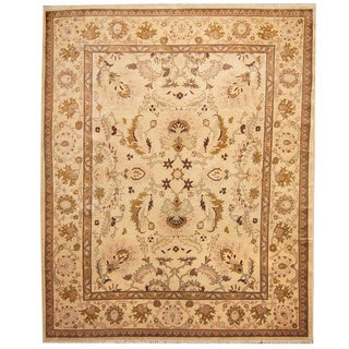 Herat Oriental Afghan Hand-knotted Vegetable Dye Ivory/ Gold Wool Rug (8' x 10')