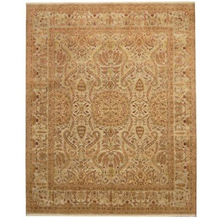 Herat Oriental Indo Hand-knotted Vegetable Dye Light Green/ Gold Wool Rug (8' x 10')