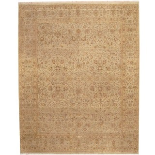 Herat Oriental Indo Hand-knotted Vegetable Dye Beige/ Gold Wool Rug (8' x 10')
