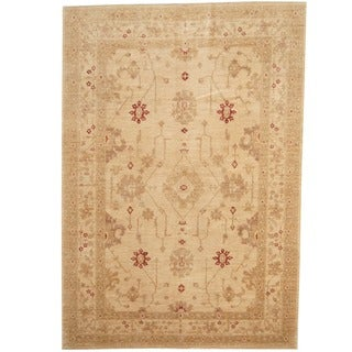 Herat Oriental Afghan Hand-knotted Beige/ Gold Vegetable Dye Wool Rug (6'9 x 9'7)