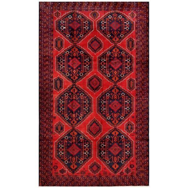 Handmade Herat Oriental Afghan Tribal Balouchi Wool Rug - 6'7 x 11' (Afghanistan)