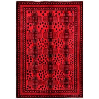 Herat Oriental Afghan Hand-knotted Tribal Balouchi Red/ Charcoal Wool Rug (6'8 x 10')