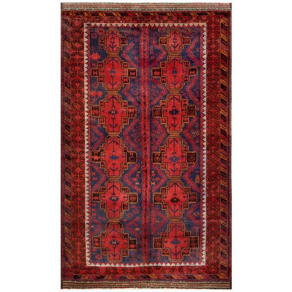 Herat Oriental Afghan Hand-knotted Tribal Balouchi Wool Rug (6' x 10'4)