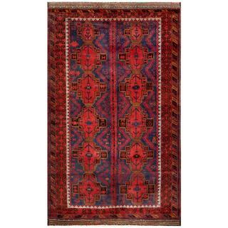 Herat Oriental Afghan Hand-knotted Tribal Balouchi Rust/ Navy Wool Rug (6' x 10'4)