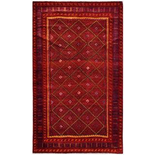 Herat Oriental Afghan Hand-knotted Tribal Balouchi Rust/ Beige Wool Rug (6' x 10')