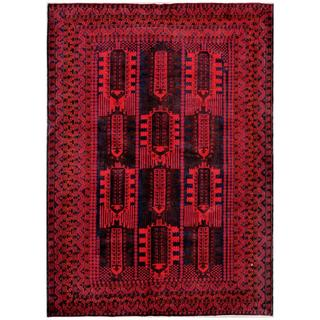 Herat Oriental Afghan Hand-knotted Tribal Balouchi Red/ Navy Wool Rug (6'9 x 9'8)