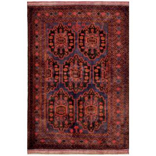 Herat Oriental Afghan Hand-knotted Tribal Balouchi Navy/ Beige Wool Rug (6'4 x 9'6)
