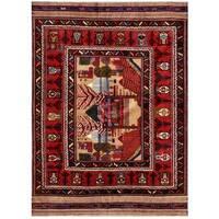 Handmade Herat Oriental Afghan Tribal Balouchi Wool Rug  - 6'4 x 9' (Afghanistan)