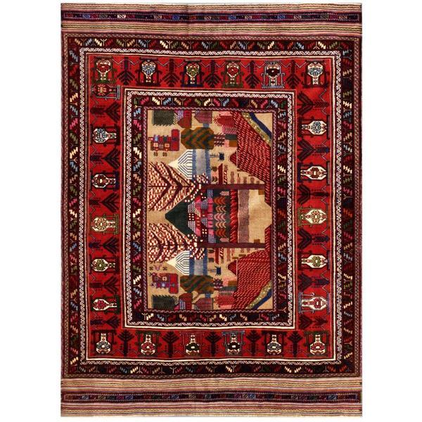 Herat Oriental Afghan Hand-knotted Tribal Balouchi Wool Rug (6'4 x 9') - 6'4 x 9'