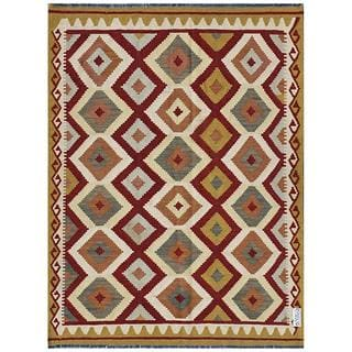 Herat Oriental Afghan Hand-woven Kilim Maroon/ Gold Wool Rug (4'9 x 6'5)