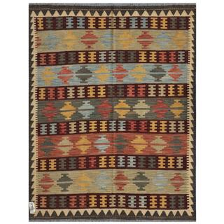 Herat Oriental Afghan Hand-woven Kilim Salmon/ Ivory Wool Rug (4'11 x 6'3)