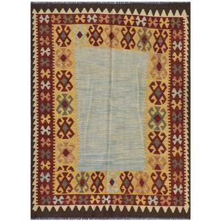 Herat Oriental Afghan Hand-woven Kilim Light Blue/ Charcoal Wool Rug (4'10 x 6'4)