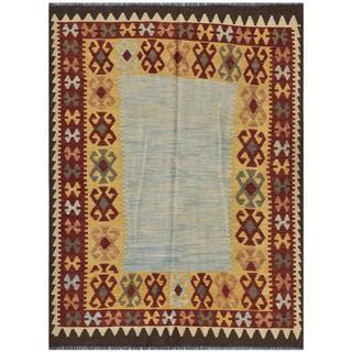 Handmade Herat Oriental Afghan Wool Kilim - 4'10 x 6'4 (Afghanistan)