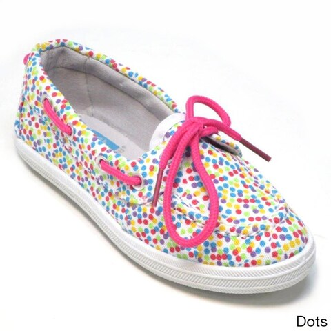 Blue Kids 'Boaty Disco' Printed Fabric Boat Shoes