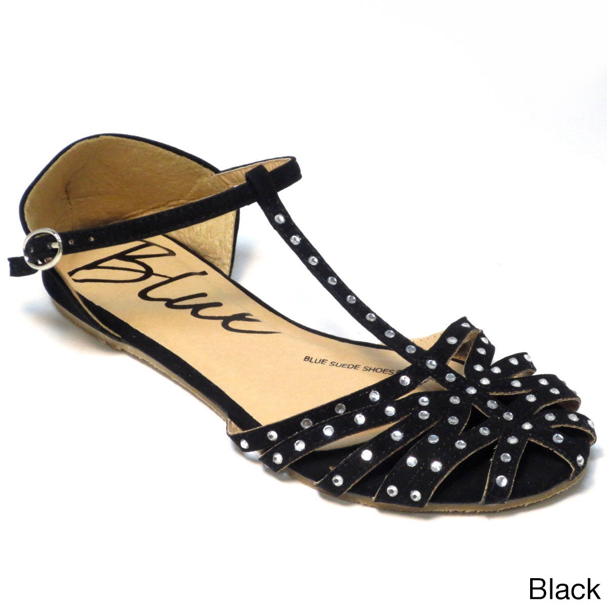 b64c69b2c3f7 Shop Blue Women s  Lollie  Studded Strappy Flat Sandals - Free Shipping On  Orders Over  45 - Overstock - 8704838 - Tan - 9