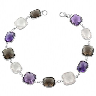 Fremada Sterling Silver Alternate Cushion and Rectangle Gemstone Bracelet (8 inch)
