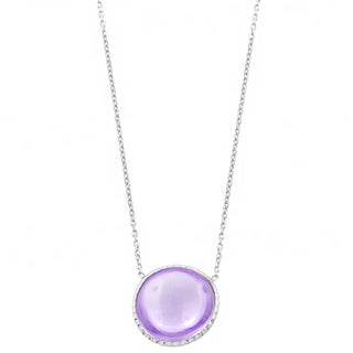 Fremada Sterling Silver Round Cabochon Pink Amethyst Necklace (18 inch)
