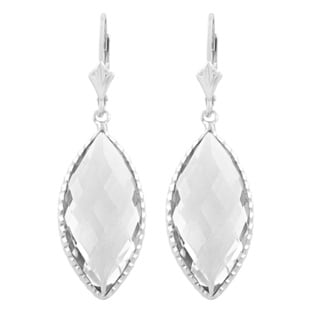Fremada Sterling Silver Marquise Clear Quartz Dangle Earrings