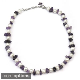 De Buman Amethyst, Agate, Red Agate or Black Agate Gemstone with Freshwater Pearl Necklace