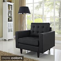 Empress Black Leather Tufted Armchair