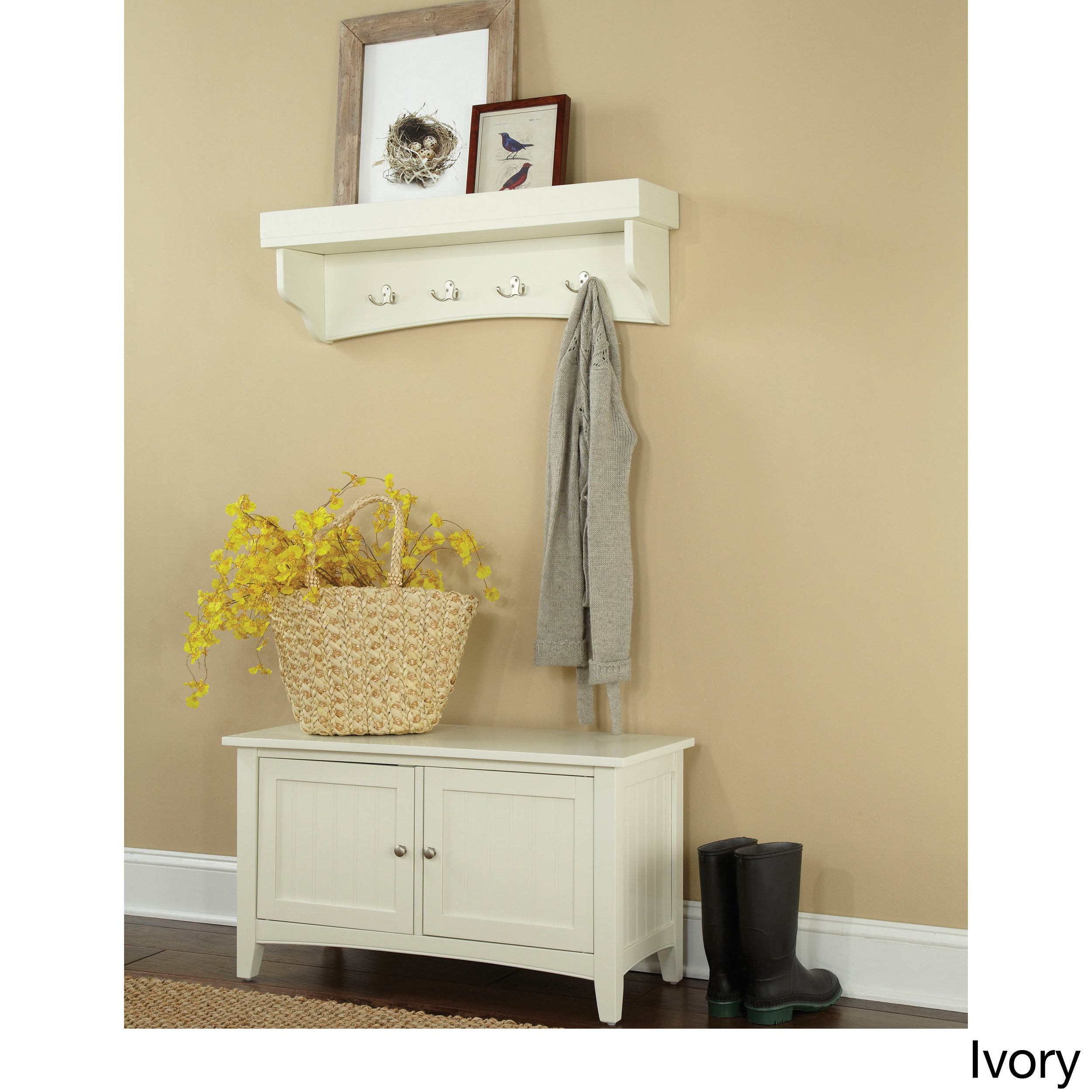 Shop Fair Haven Tray Shelf Coat Hook and Storage Bench Set - Free ...