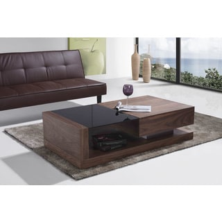 Black Glass-top Contemporary Coffee Table