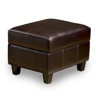 Henri Dark Brown Leather Storage Ottoman