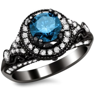 Noori 14k Black Gold 1 2/5ct TDW Certified Round-cut Blue/ White Diamond Vintage Style Ring (G-H, SI1-SI2)