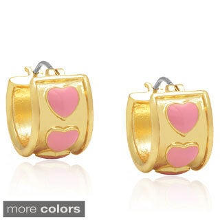 Molly and Emma 14k Gold Overlay Enamel Heart Hoop Earrings