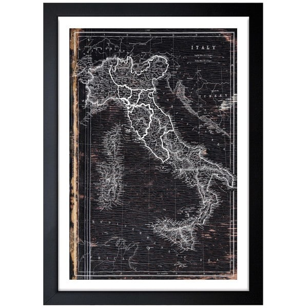 Oliver Gal \'Map of Italy 1873\' Framed Art - Black - Free Shipping ...