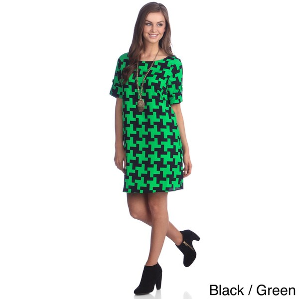 Hadari Women's Two-tone Houndstooth Print Dress
