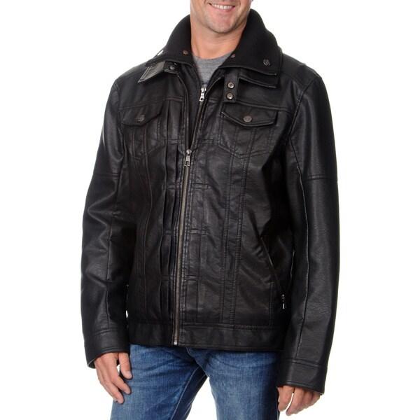 Fleet Street Men's Faux Leather with Removable Center Bib Jacket