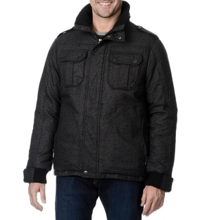 Fleet Street Men's Black Poly Wool Hybrid Jacket