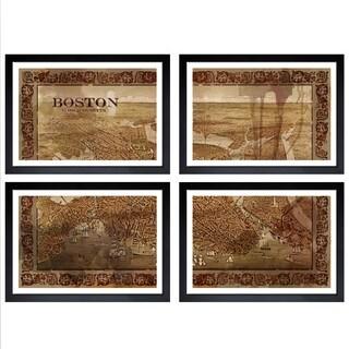 Oliver Gal 'Port of Boston 1800s Map - 4 Panels' Framed Print Art
