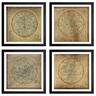 Oliver Gal 'Celestial Map XVI Century II - 4 Panels' Framed Art