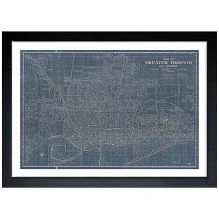 Oliver Gal 'Map of Greater Toronto and Suburbs 1916' Framed Art