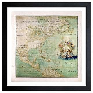 Oliver Gal 'Amerique Septentrionale Map 1600s' Framed Art