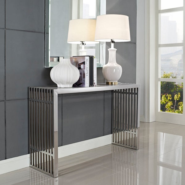 15 Entrance Hall Table Styles To Marvel At: Shop Stainless Steel Modern Gridiron Console Table