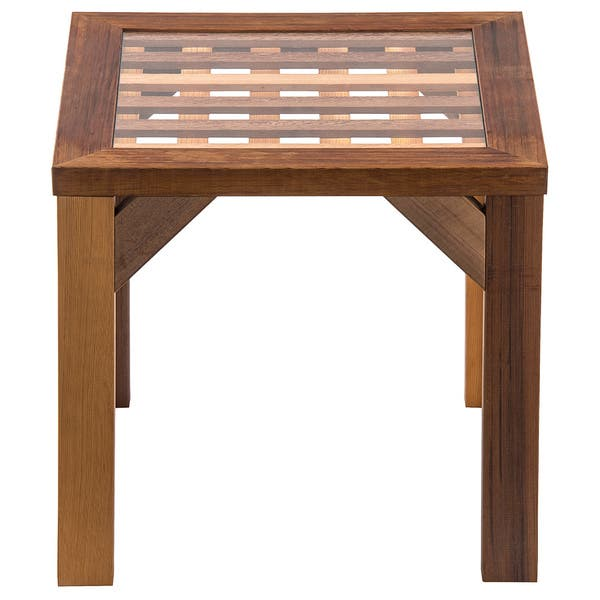Shop Lattice Western Red Cedar End Table Free Shipping