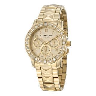 Stuhrling Original Women's Lady Nobilis Yellowtone Pyramid Bracelet Watch|https://ak1.ostkcdn.com/images/products/8707973/Stuhrling-Original-Womens-Lady-Nobilis-Swiss-Quartz-Bracelet-Watch-P15957943.jpg?impolicy=medium