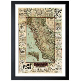 Oliver Gal 'Map of California 1896 for Cyclers' Framed Art