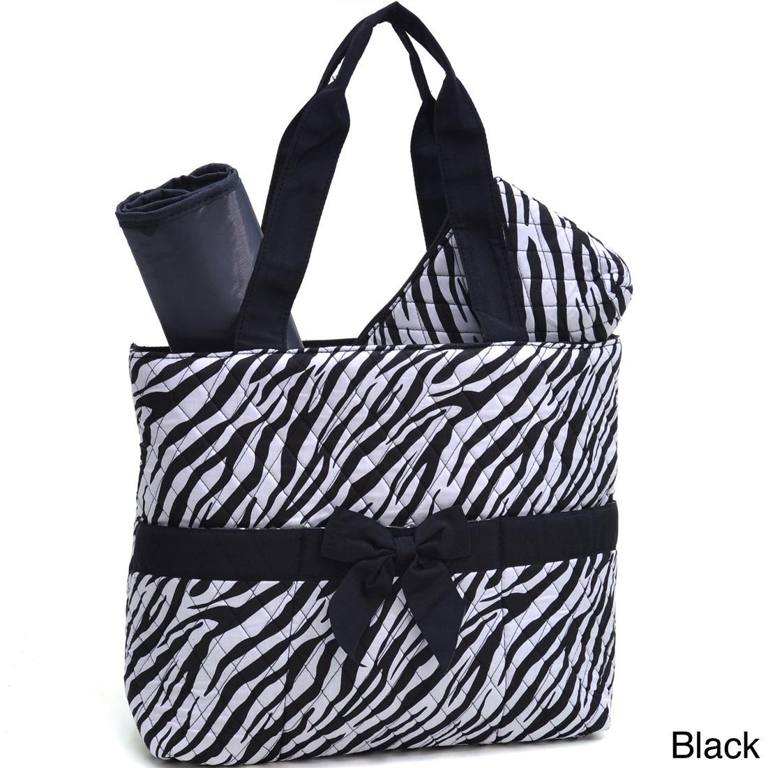 Dasein Rosen Blue Zebra Print 3-piece Diaper Bag Set (Bla...