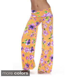 White Mark Women's Floral Print Palazzo Pants