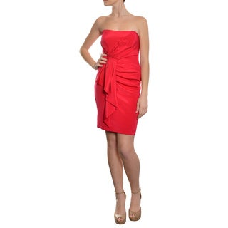 Nicole Miller Women's Berry Red Silk Draped Cocktail Dress
