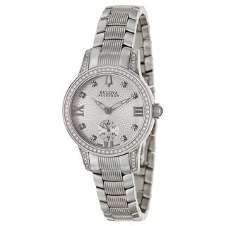 Bulova Accutron Women's 63R001 'Masella' Stainless Steel and Diamonds Swiss Quartz Watch|https://ak1.ostkcdn.com/images/products/8708190/Bulova-Accutron-Womens-Masella-Stainless-Steel-and-Diamonds-Swiss-Quartz-Watch-P15958091.jpg?impolicy=medium