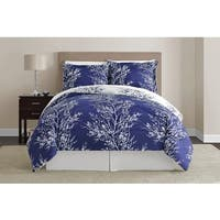VCNY Navy and White Leaf Comforter Set