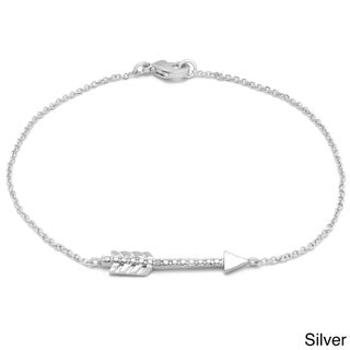 Finesque Diamond Accent Sideways Arrow Chain Bracelet