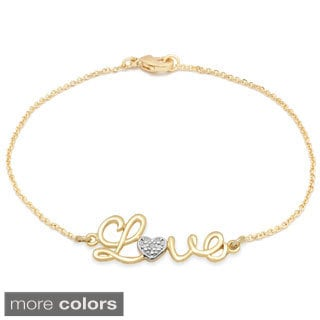 Finesque Diamond Accent 'Love' Chain Bracelet