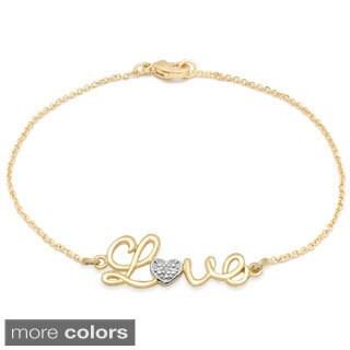 Finesque Diamond Accent 'Love' Chain Bracelet