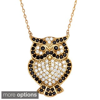 La Preciosa Sterling Silver Black/ White Cubic Zirconia Owl Necklace